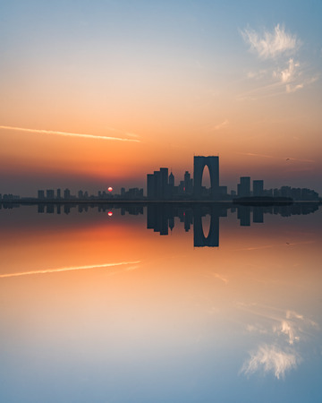 The Gate of the Orient by the Jinji Lake at twilight in Suzhou,China.