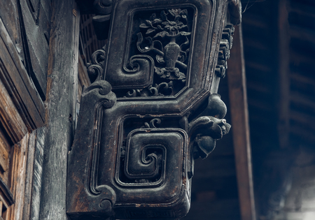 Wood carving on traditional house,Architectural details. Banco de Imagens