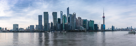 Shanghai skyline panorama,landmarks of Shanghai with Huangpu river in China. Banco de Imagens
