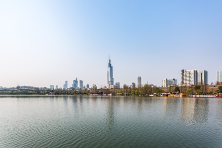City Skyline By River in city of China.