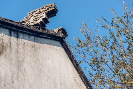 Traditional clay roof of ancient chinese building,closeup. Banco de Imagens