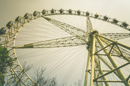 low angle view of Big ferris wheel with sky.