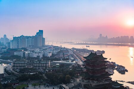 panoramic view of cityscape,midtown skyline  at sunrise/sunset,shot in China.
