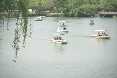 tourist boats on river of a natural public park.