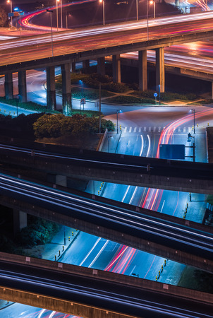 traffic light trails at night in Shanghai, China.