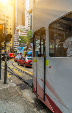 urban traffic road with cityscape in background in Hong Kong,China. Banco de Imagens