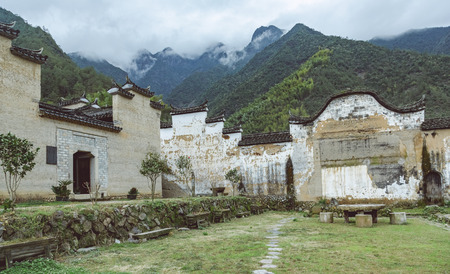 old village,traditional Chinese farmhouse in Zhejiang province,China. Banco de Imagens