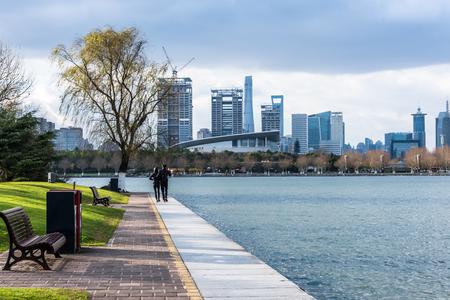 City Skyline By River Banco de Imagens