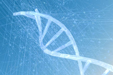 3d rendering, DNA with blue background