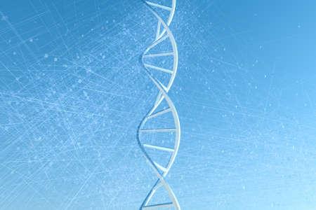 Representación 3D, ADN con fondo azul.