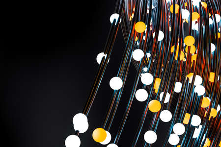 3d rendering, glowing wires abstract background Banque d'images