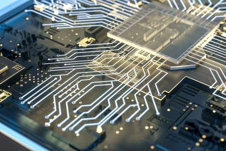golden glowing circuit components, 3d rendering Standard-Bild - 118469086