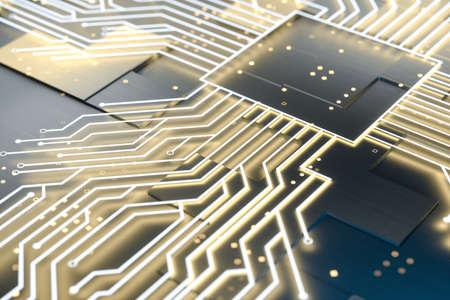golden glowing circuit components, 3d rendering Standard-Bild - 118469104