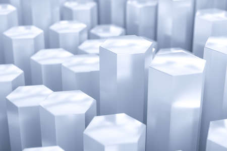 3d rendering, white hexagon pillar