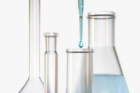 rendu 3D, récipients chimiques dans le laboratoire, image numérique de l'ordinateur