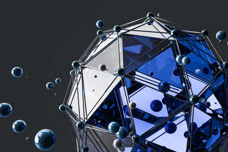 3d rendering, creative triangle polygon construction, dark background, computer digital image Stock Photo