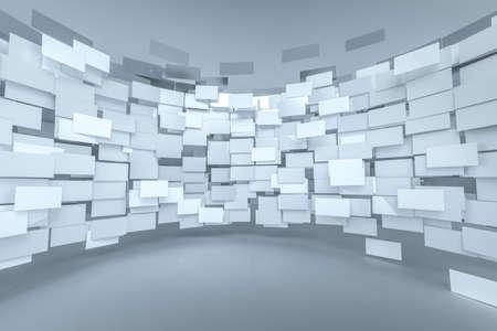 3d rendering, flow square paper, creative background, computer digital background