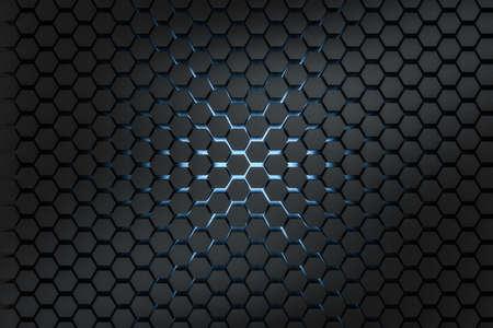 3d rendering, dark hexagonal background, sci-fi background, computer digital background