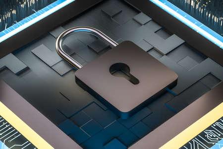 3D-rendering, metalen slot met digitale concept achtergrond, computer digitale achtergrond