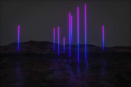 colorful glowing lines with dark mountain background, 3d rendering, computer digital drawing Imagens