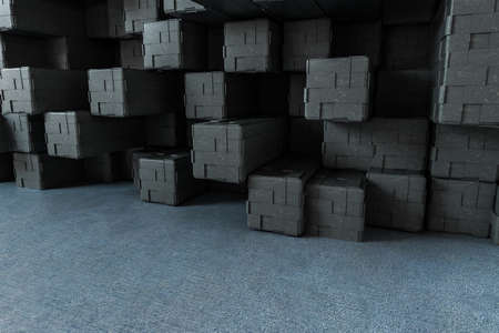 3d rendering, creative cubes wall with floor, computer digital image