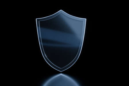 3d rendering, a defense shield with technological background, computer digital background