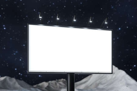 3d rendering, blank advertising board In the night scene. Computer digital image. Stock Photo