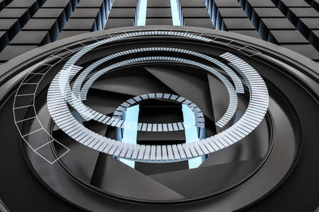 3d rendering, camera lens in a dark studio background. Computer digital image.