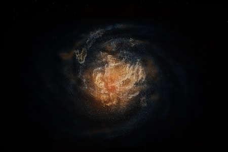 Representación 3D, la magnífica nebulosa espiral. El fondo del universo. Fondo digital de computadora. Foto de archivo