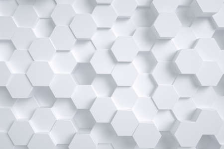 3d rendering, white hexagon cubes background