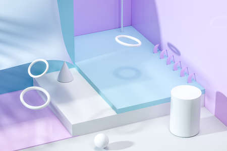 3d rendering, relaxing tint color room with creative shapes. Computer digital background.