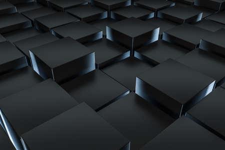 Representación 3D, fondo oscuro, ladrillos de cubo con efecto de luz. Fondo digital de computadora.