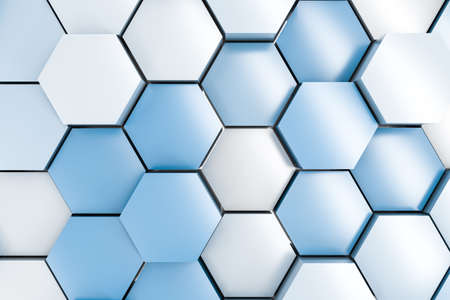 3d rendering, blue and white hexagon cubes background.