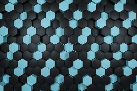 3d rendering, black and cyan hexagon cubes background.