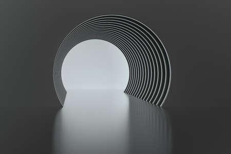 3d rendering, dark science-fiction tunnel, dark background. Computer digital background. Stockfoto - 121929498