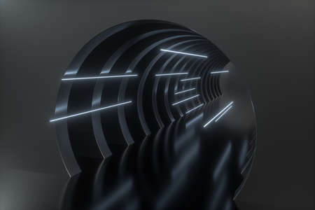 3d rendering, dark science-fiction tunnel, dark background. Computer digital background. Stockfoto - 121929514