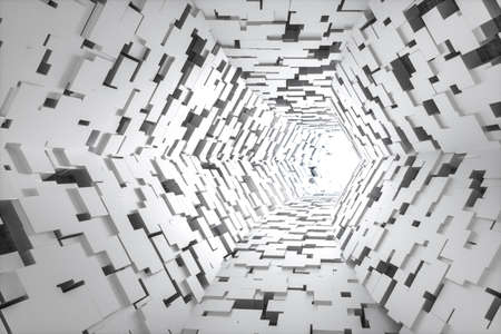 3d rendering, bright science-fiction tunnel, bright background. Computer digital background. Stockfoto - 121929515