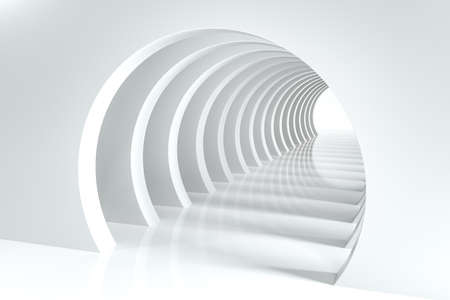 3d rendering, bright science-fiction tunnel, bright background. Computer digital background. Banco de Imagens
