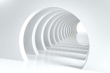 Representación 3D, túnel de ciencia ficción brillante, fondo brillante. Fondo digital de computadora. Foto de archivo