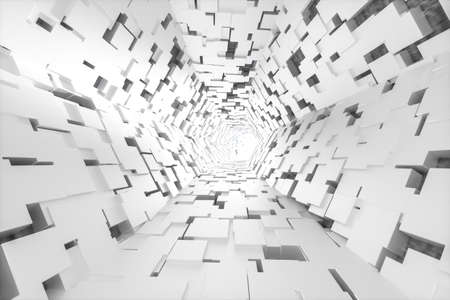 3d rendering, bright science-fiction tunnel, bright background. Computer digital background.