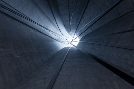 3d rendering, dark science-fiction tunnel, dark background. Computer digital background.