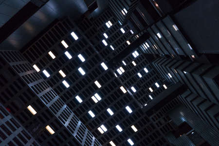 The headlight in the celling. Sense of science fiction film. Dark background.