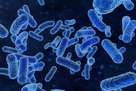 3D-Rendering, infektiöses Virus mit Oberflächendetails auf blauem Hintergrund. Digitales Computerbild.