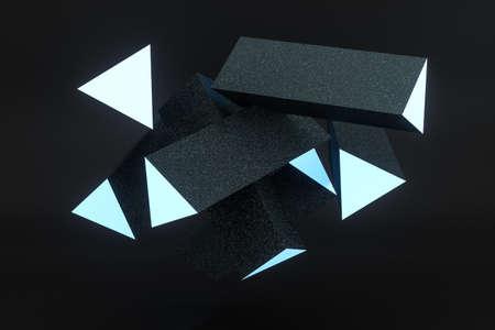 3d rendering, blue glowing triangle pillar with dark background, Computer digital background. Reklamní fotografie