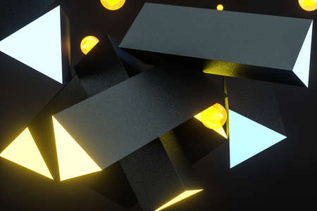 3d rendering, yellow glowing triangle pillar with dark background, Computer digital background.