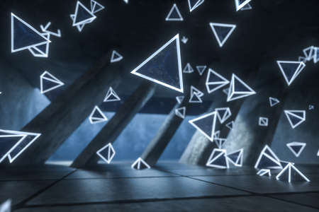 3d rendering, glowing magic triangles in abandoned room, dark background. Computer digital background.
