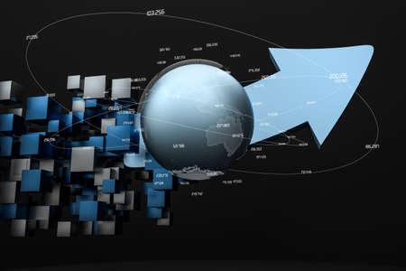 3d rendering, 3d model of arrow, the concept of development and direction. Computer digital image. Reklamní fotografie