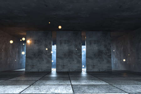 3d rendering, the abandoned empty room at night. Computer digital background.
