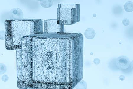 3d rendering, drop of water with light blue background. Computer digital background. Banco de Imagens