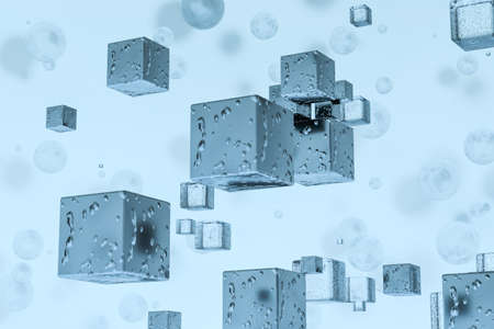 3d rendering, drop of water with light blue background. Computer digital background. Фото со стока
